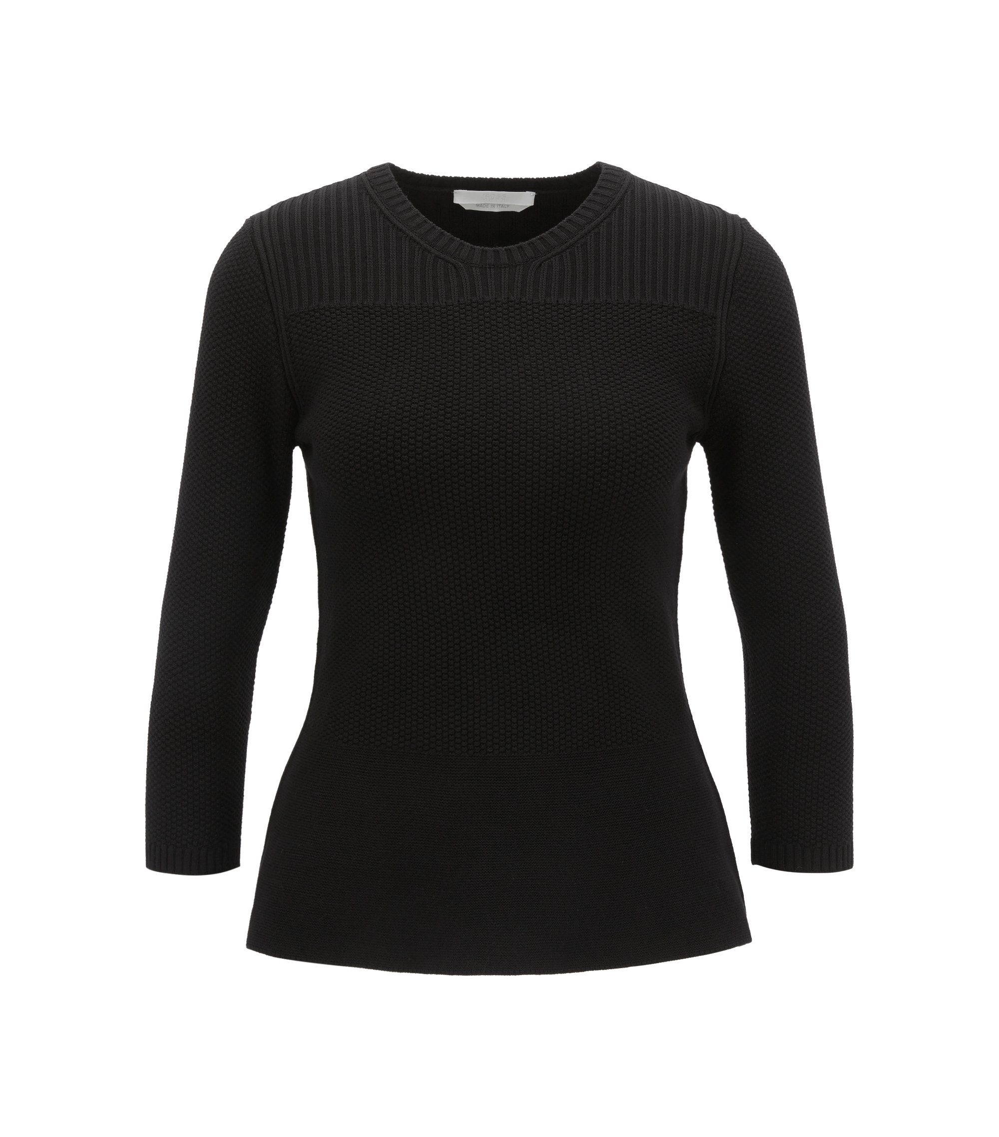 Peplum sweater with three-quarter-length sleeves, Black