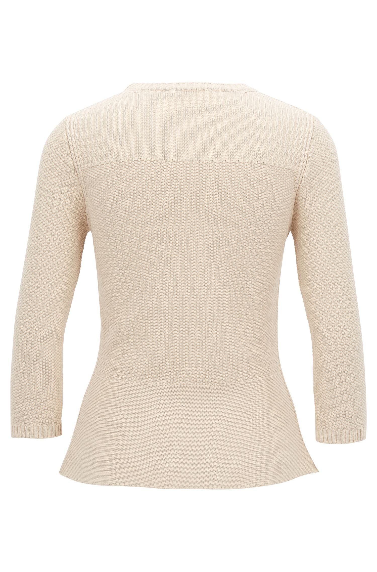 Peplum sweater with three-quarter-length sleeves