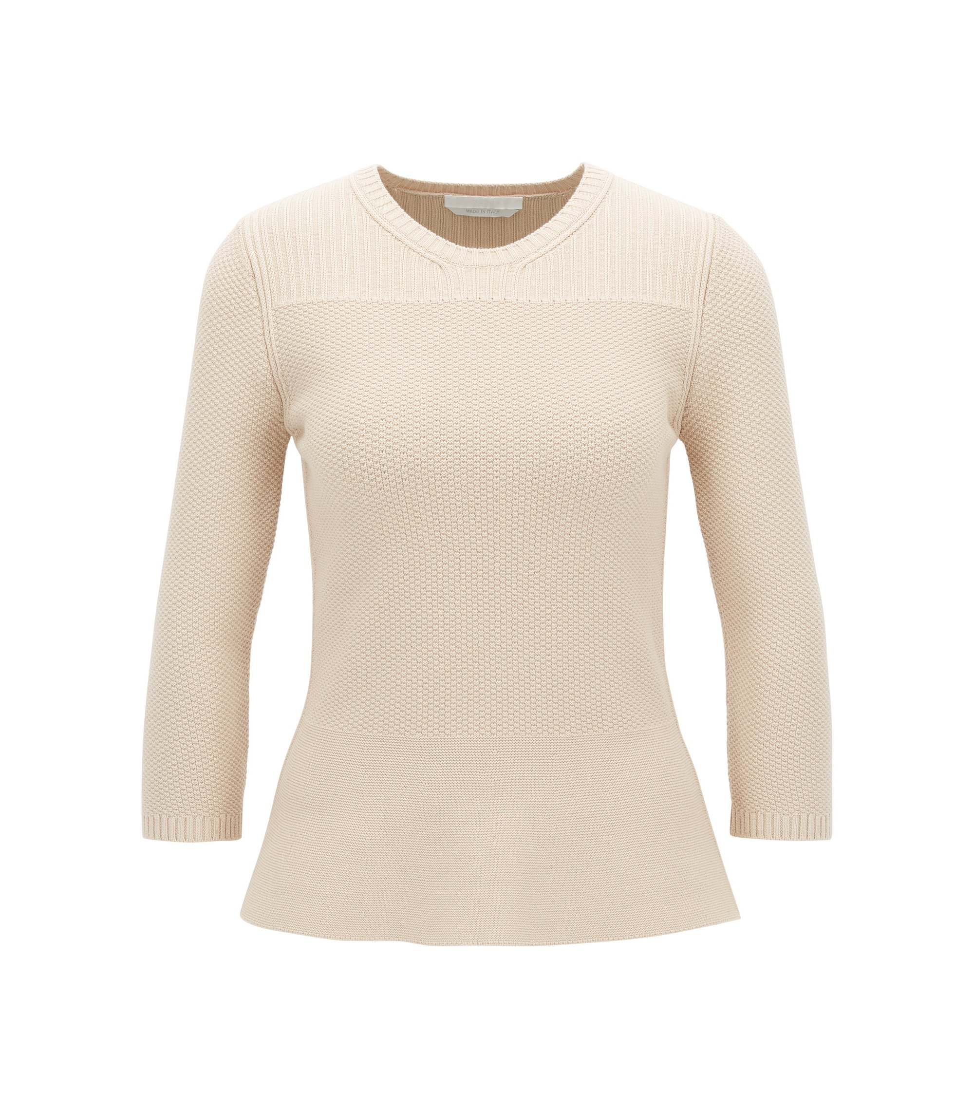 Peplum sweater with three-quarter-length sleeves, Beige