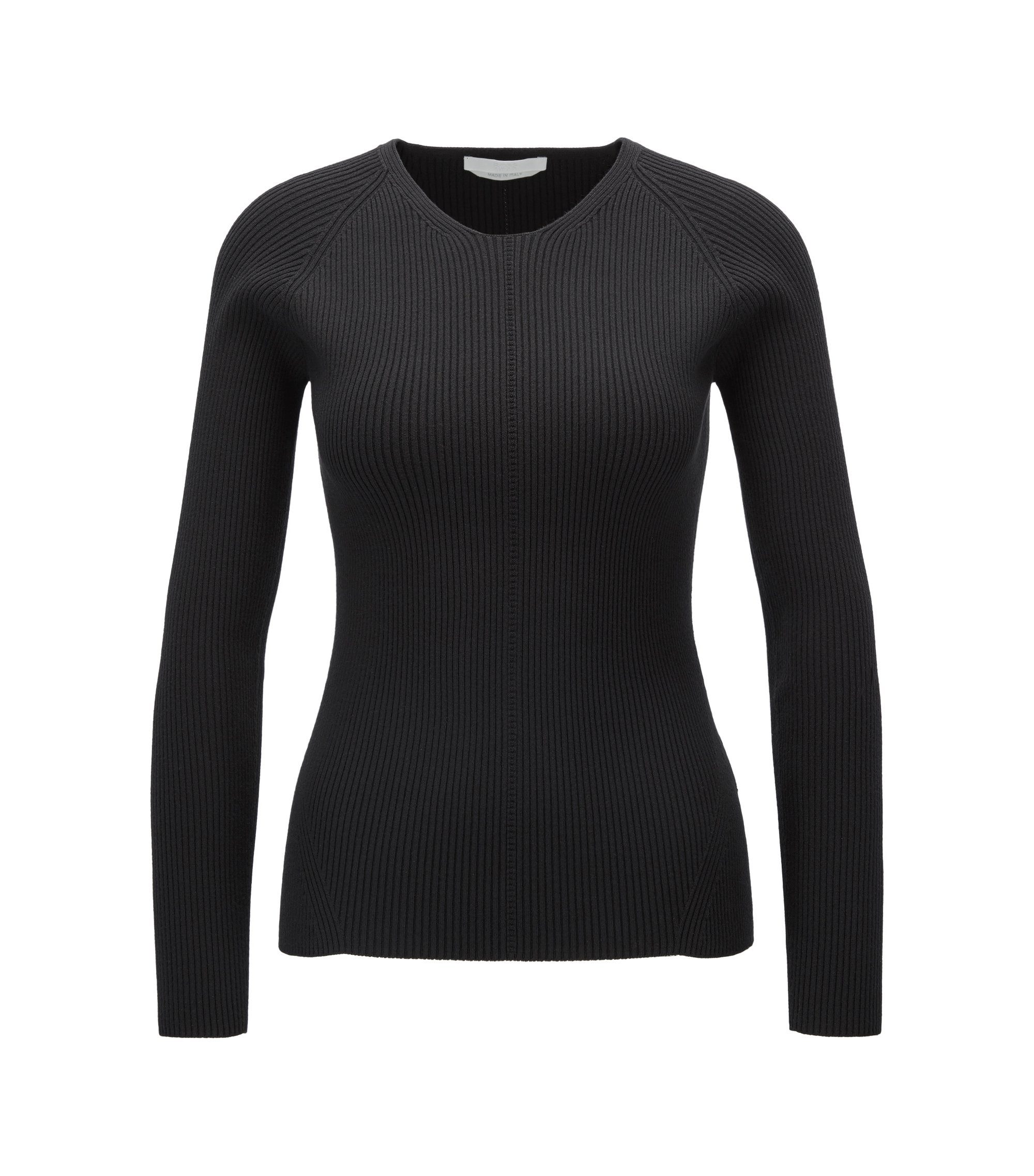 Crew-neck sweater in a textured rib knit, Black