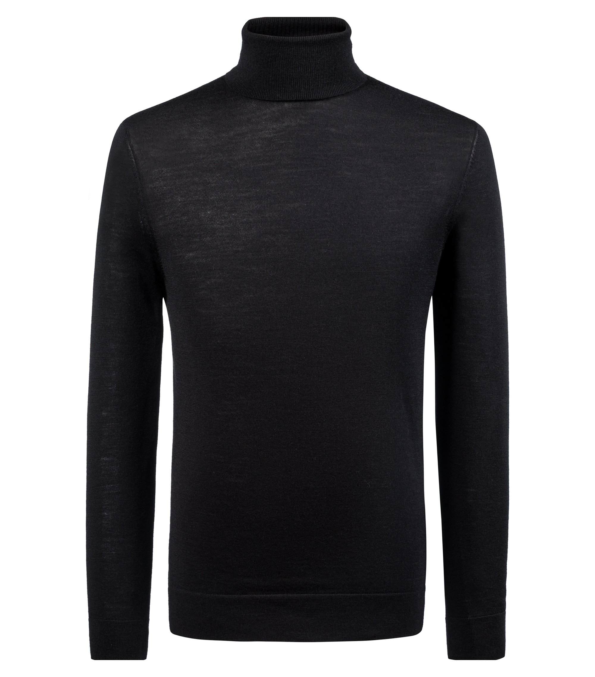 Turtle-neck sweater in a Merino wool blend, Black
