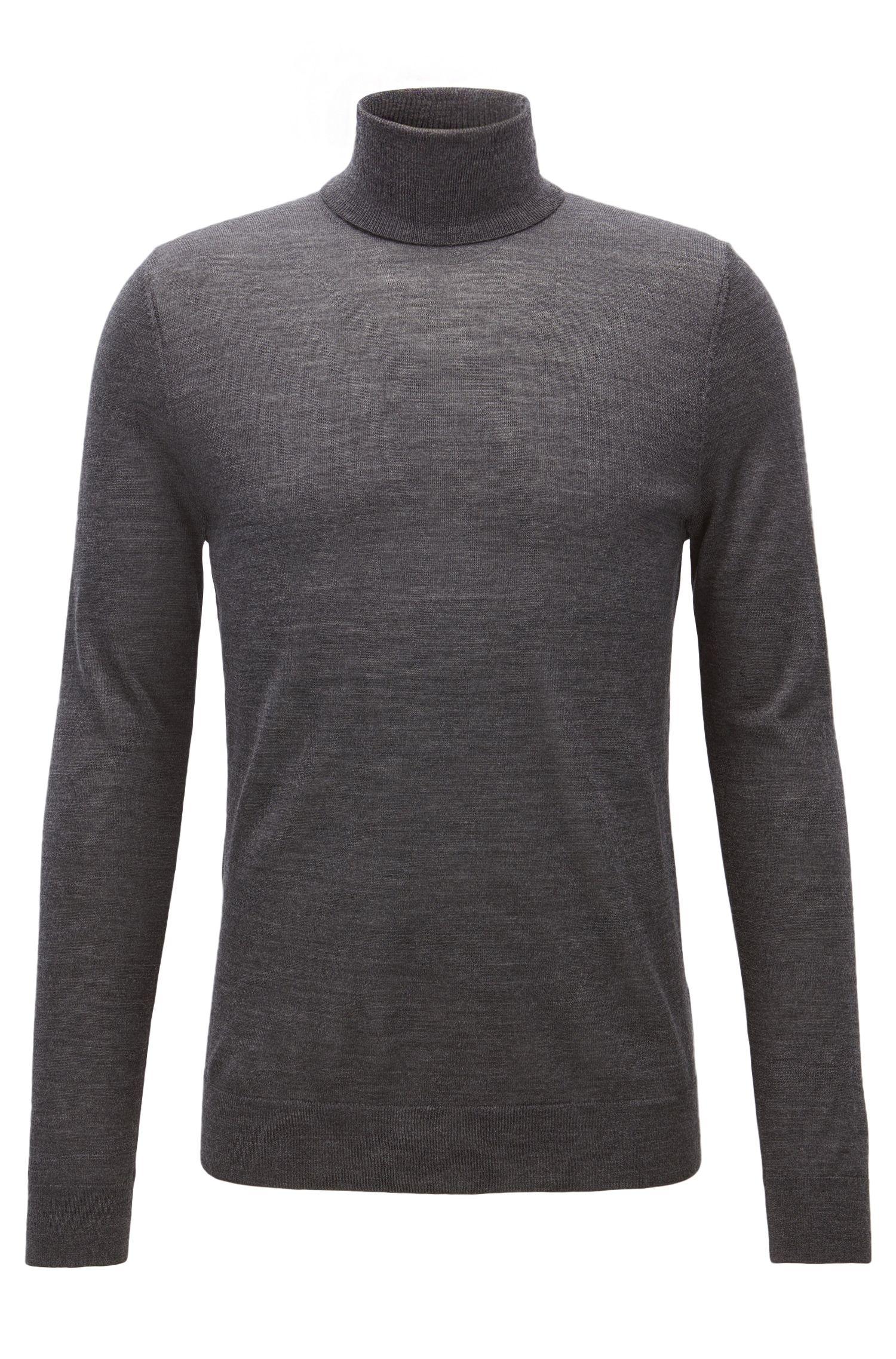 Jersey de cuello alto en mezcla de lana de merino