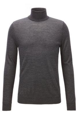 Jersey de cuello alto en mezcla de lana de merino, Gris marengo