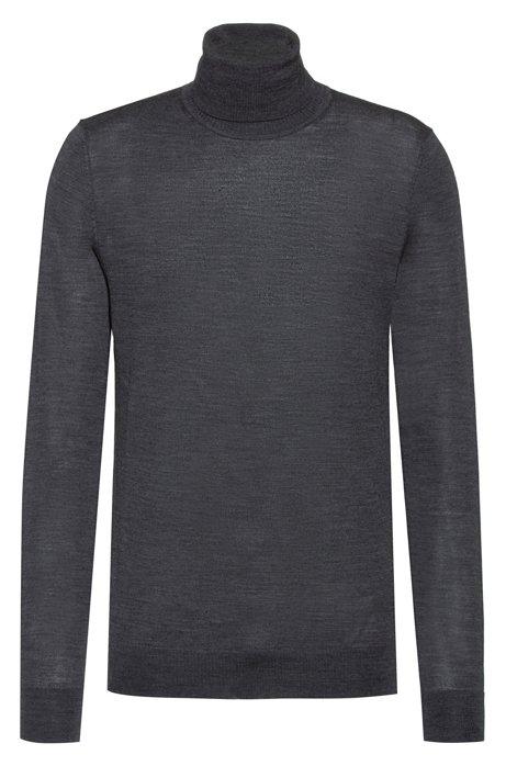 Turtle-neck sweater in a Merino wool blend, Dark Grey