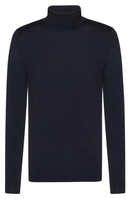 Turtle-neck sweater in a Merino wool blend, Dark Blue