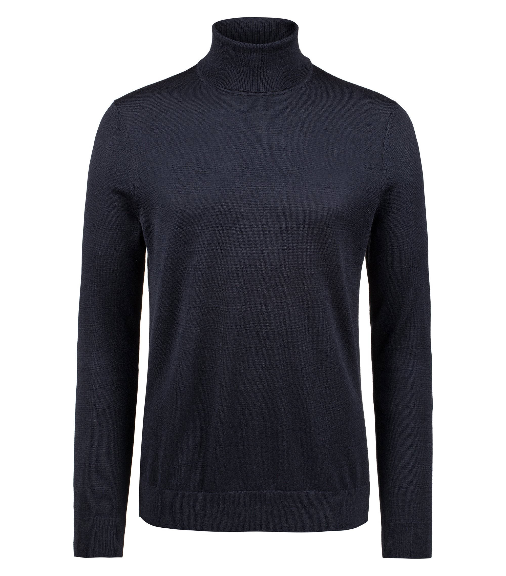 Turtle-neck sweater in a Merino wool blend, Dark Blue