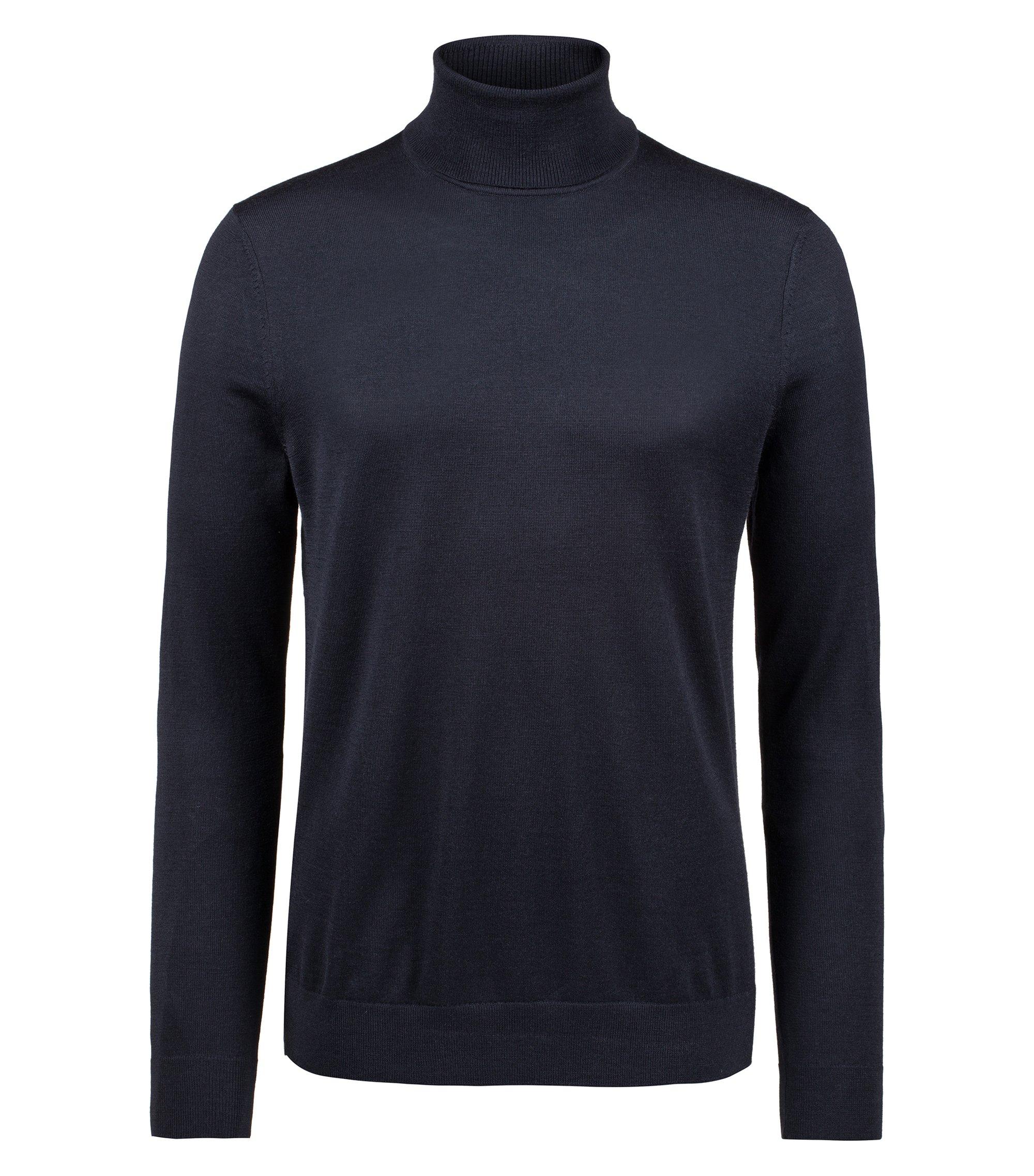 Jersey de cuello alto en mezcla de lana de merino, Azul oscuro