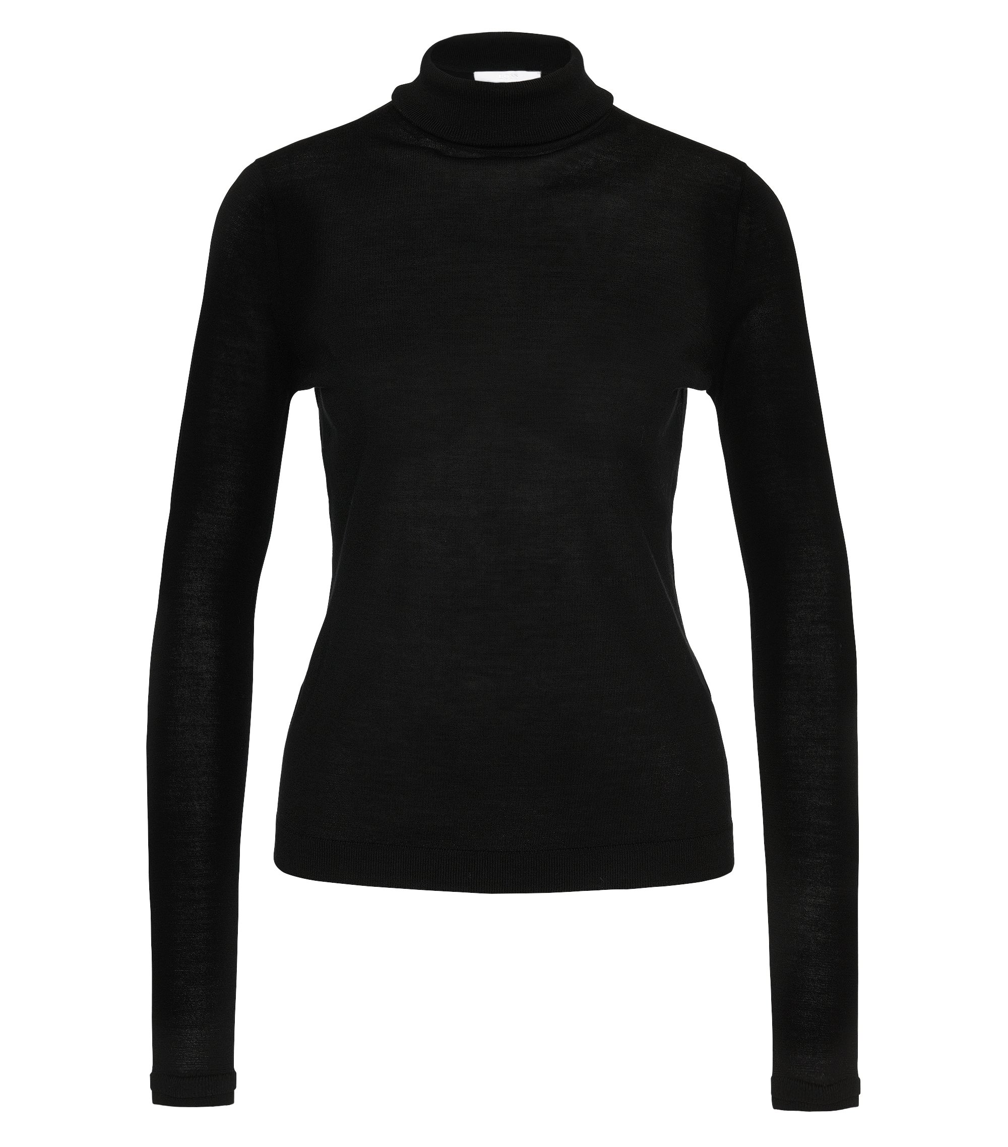 Slim-fit roll-neck sweater in mercerised virgin wool, Black