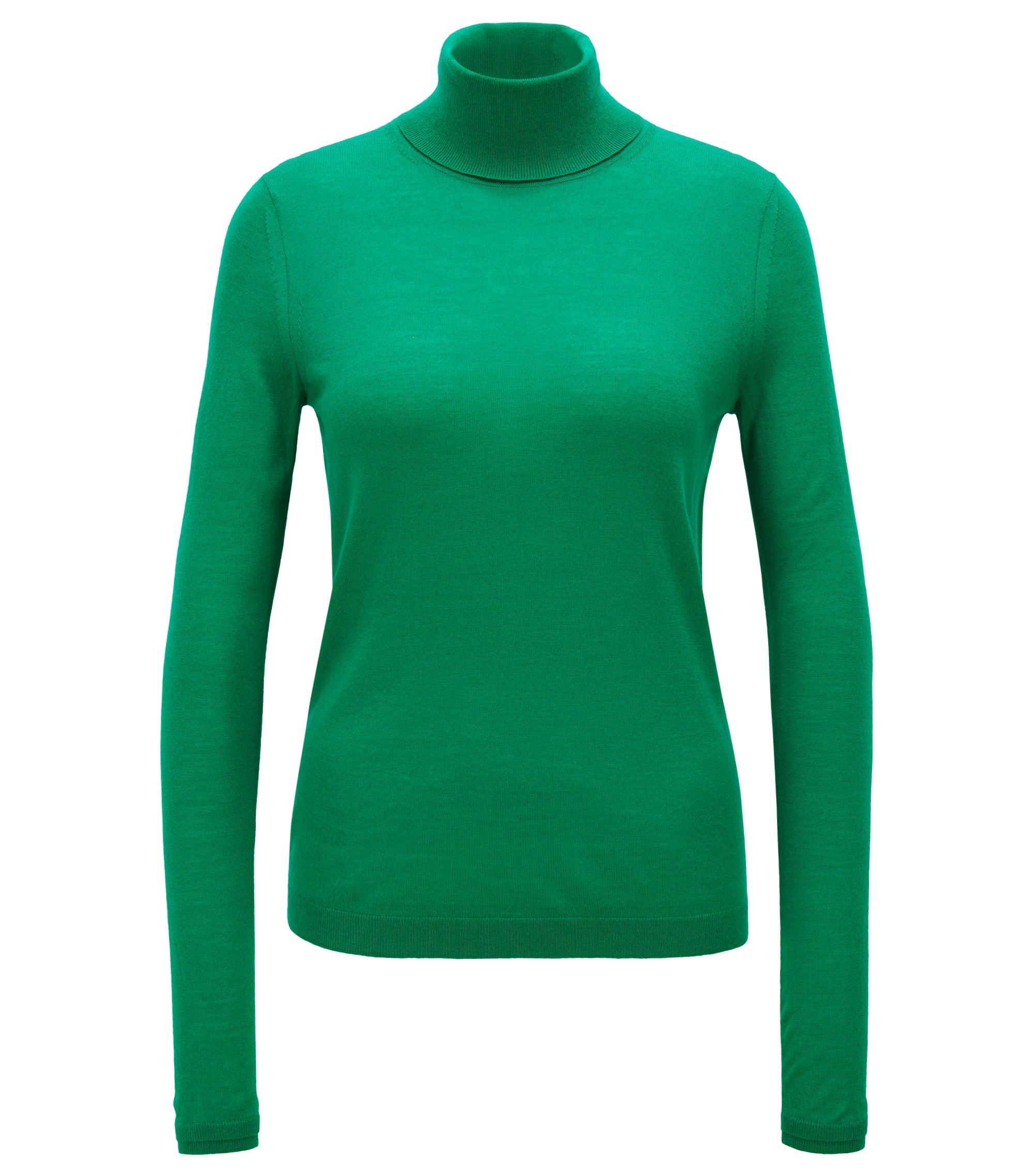 Slim-fit roll-neck sweater in mercerised virgin wool, Open Green