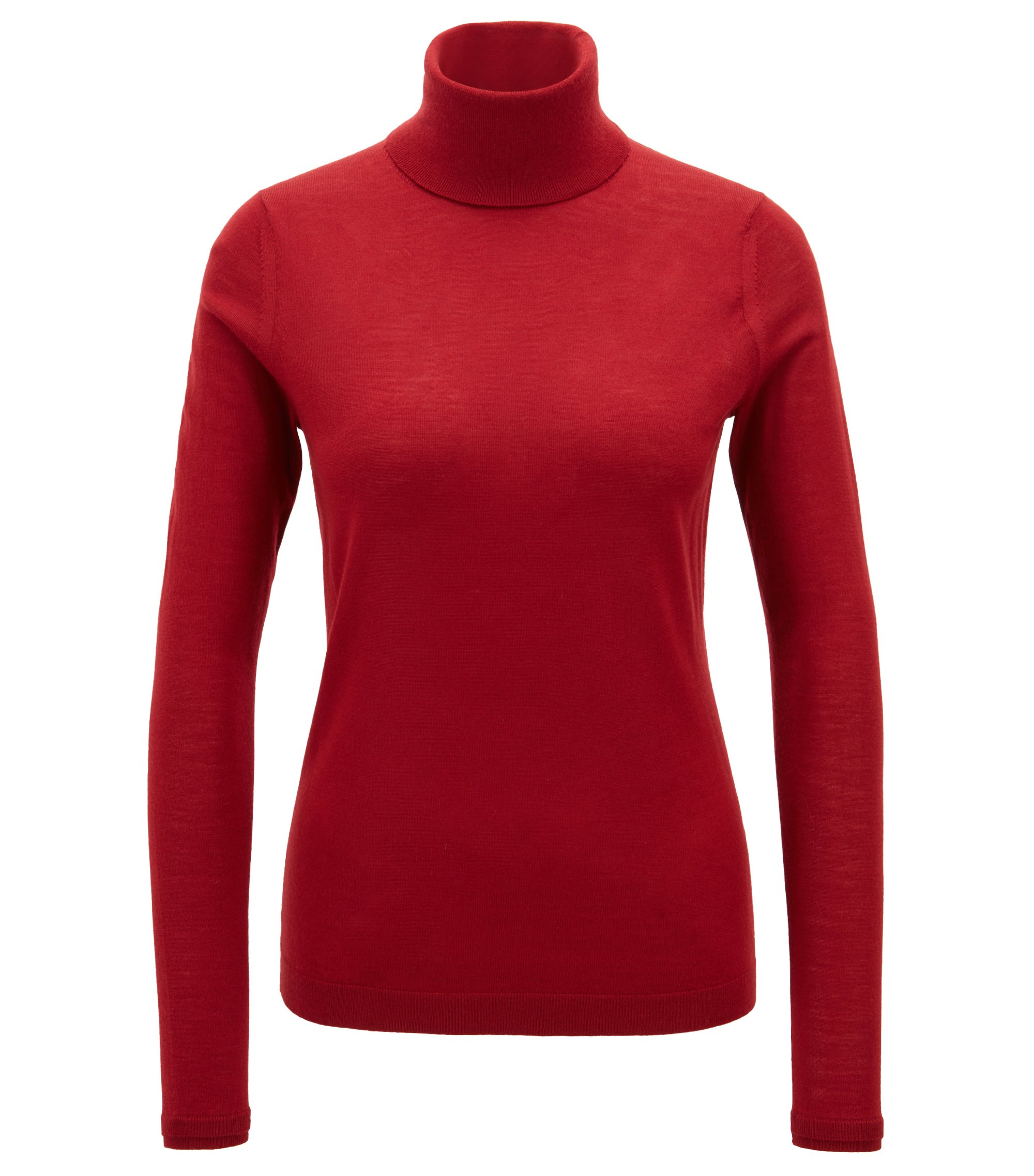 Slim-fit roll-neck sweater in mercerised virgin wool, Dark Red