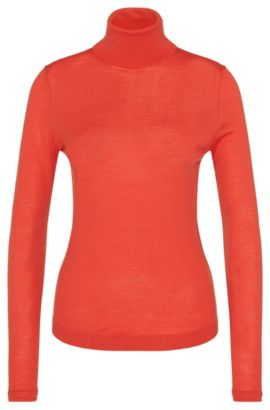 Polo neck sweater in new wool in fine-knit quality: 'Fabuna', Red