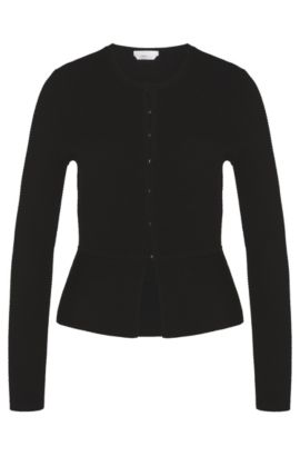 Cardigan in pure new wool with a flared hem: 'Fadra', Black