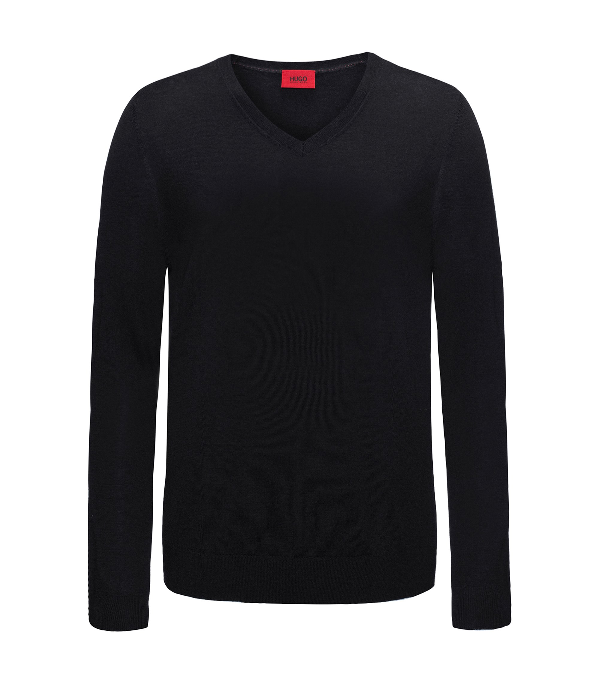 Lightweight V-neck sweater in a merino wool blend, Black
