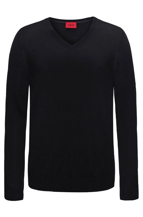 Slim-Fit Pullover aus einem leichten Merinowoll-Mix mit V-Ausschnitt,  Schwarz ab290b6fc9