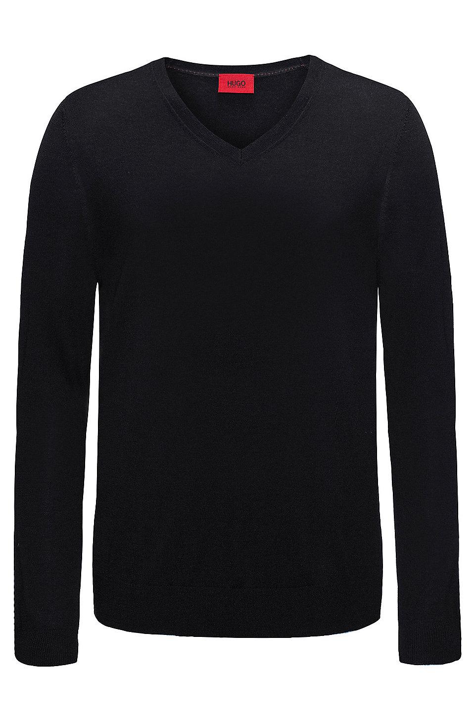 HUGO - Slim-Fit Pullover aus einem leichten Merinowoll-Mix mit V-Ausschnitt fb976d1537