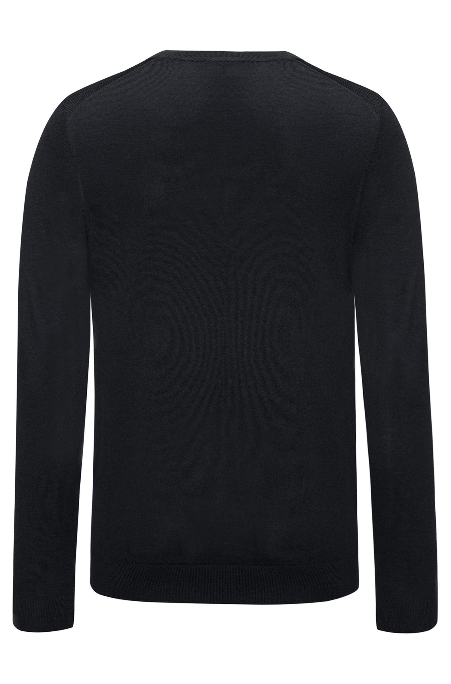 Slim-Fit Pullover aus einem leichten Merinowoll-Mix mit V-Ausschnitt, Schwarz