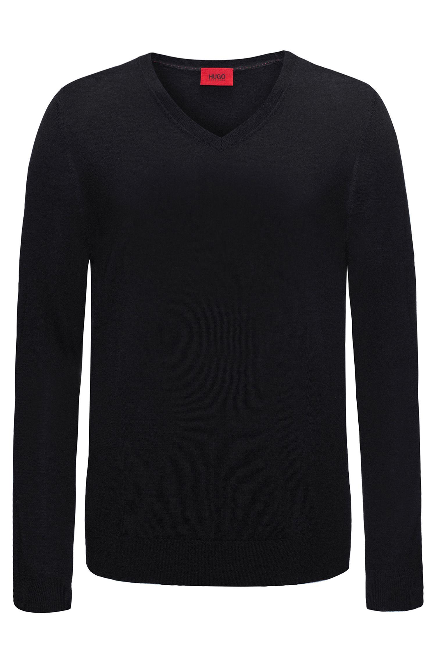 Effen slim-fit trui van een scheerwolmix: 'San Carlo'