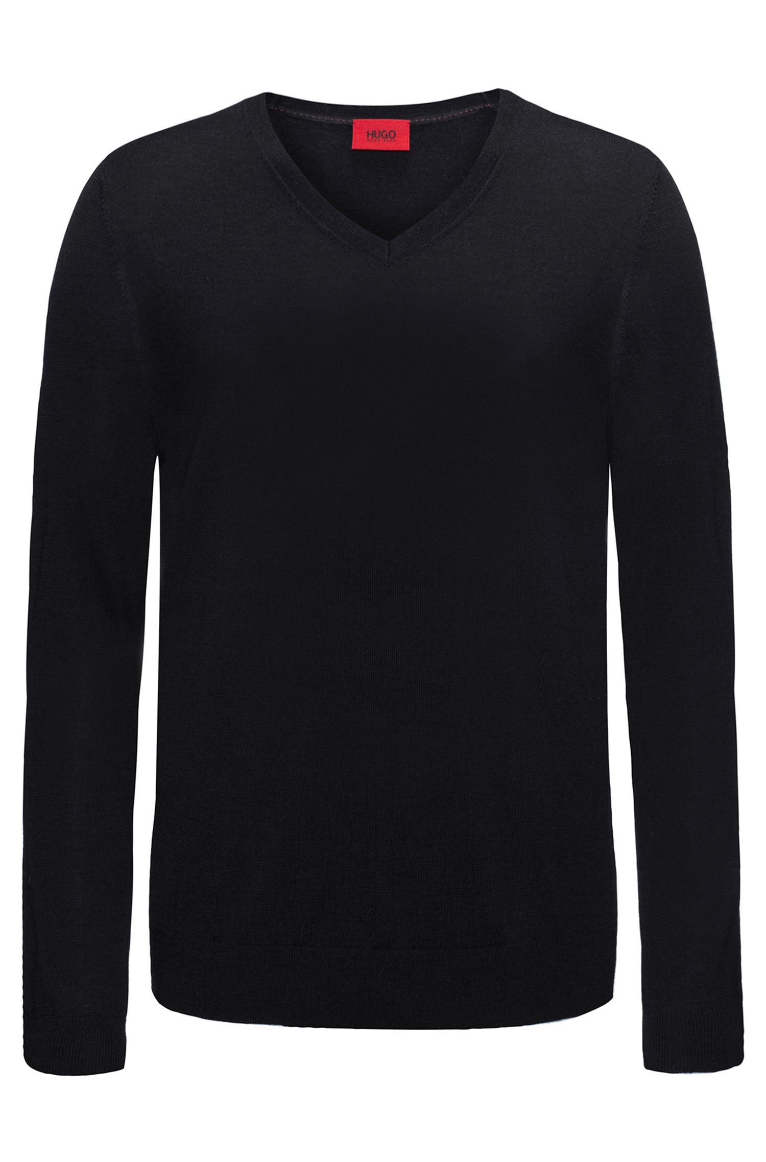 Plain slim-fit sweater in new-wool blend: 'San Carlo'