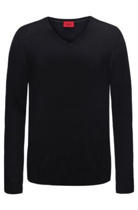Plain slim-fit sweater in new-wool blend: 'San Carlo', Black