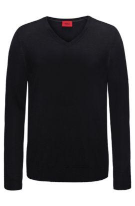 Effen slim-fit trui van een scheerwolmix: 'San Carlo', Zwart