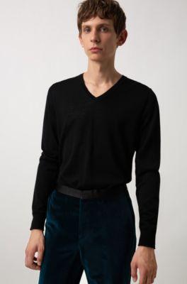 7f4ad35d4 HUGO - Lightweight V-neck sweater in a merino wool blend