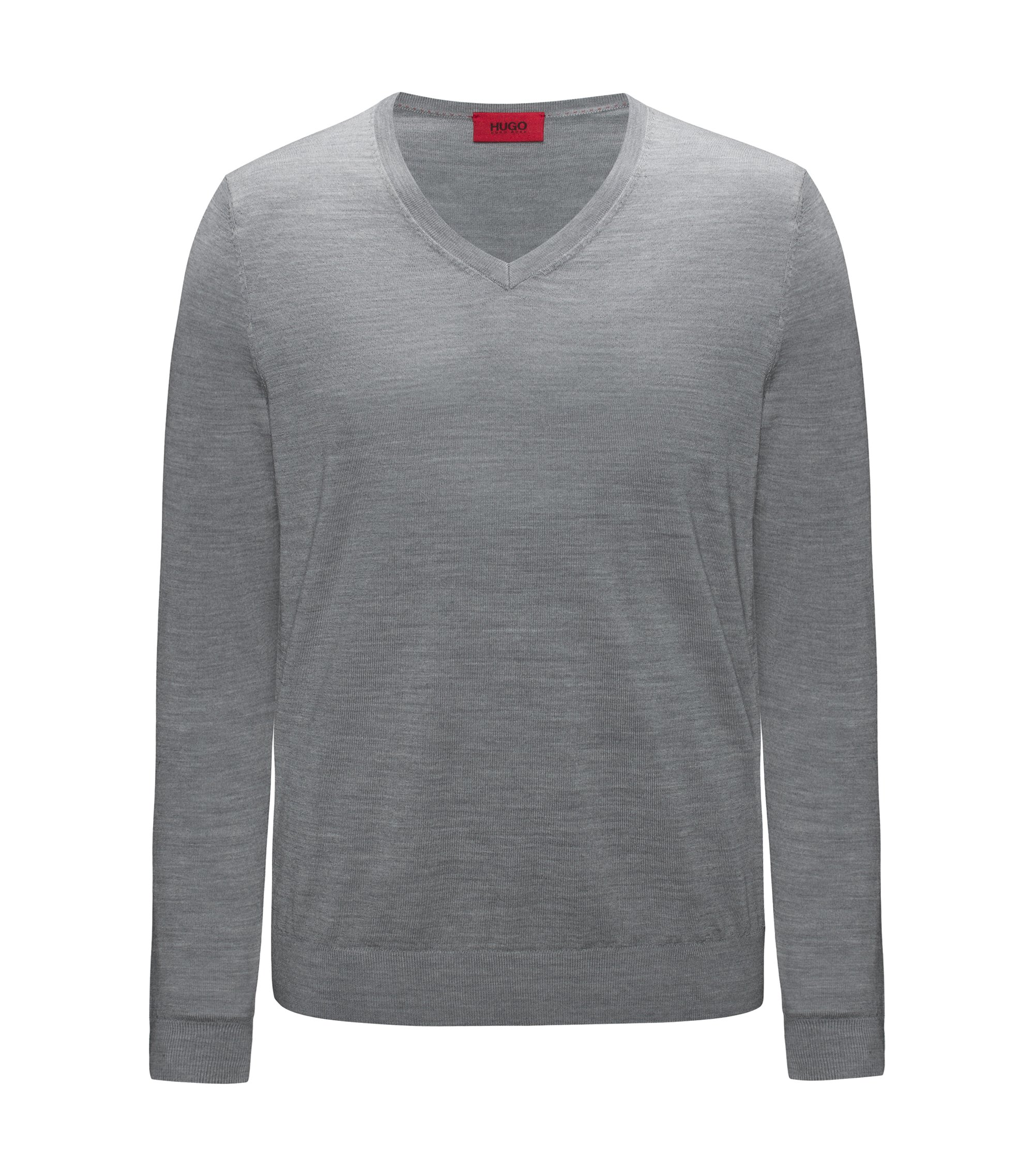 Lightweight V-neck sweater in a merino wool blend, Grey