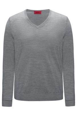Slim-Fit Pullover aus einem leichten Merinowoll-Mix mit V-Ausschnitt, Grau