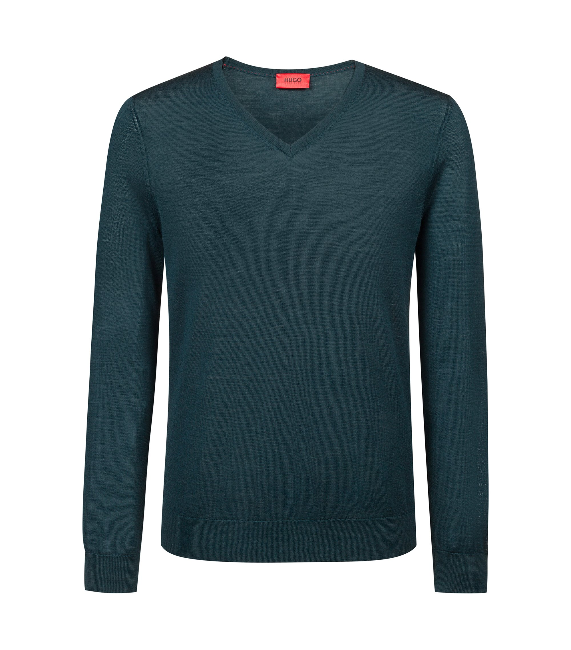 Lightweight V-neck sweater in a merino wool blend, Dark Green
