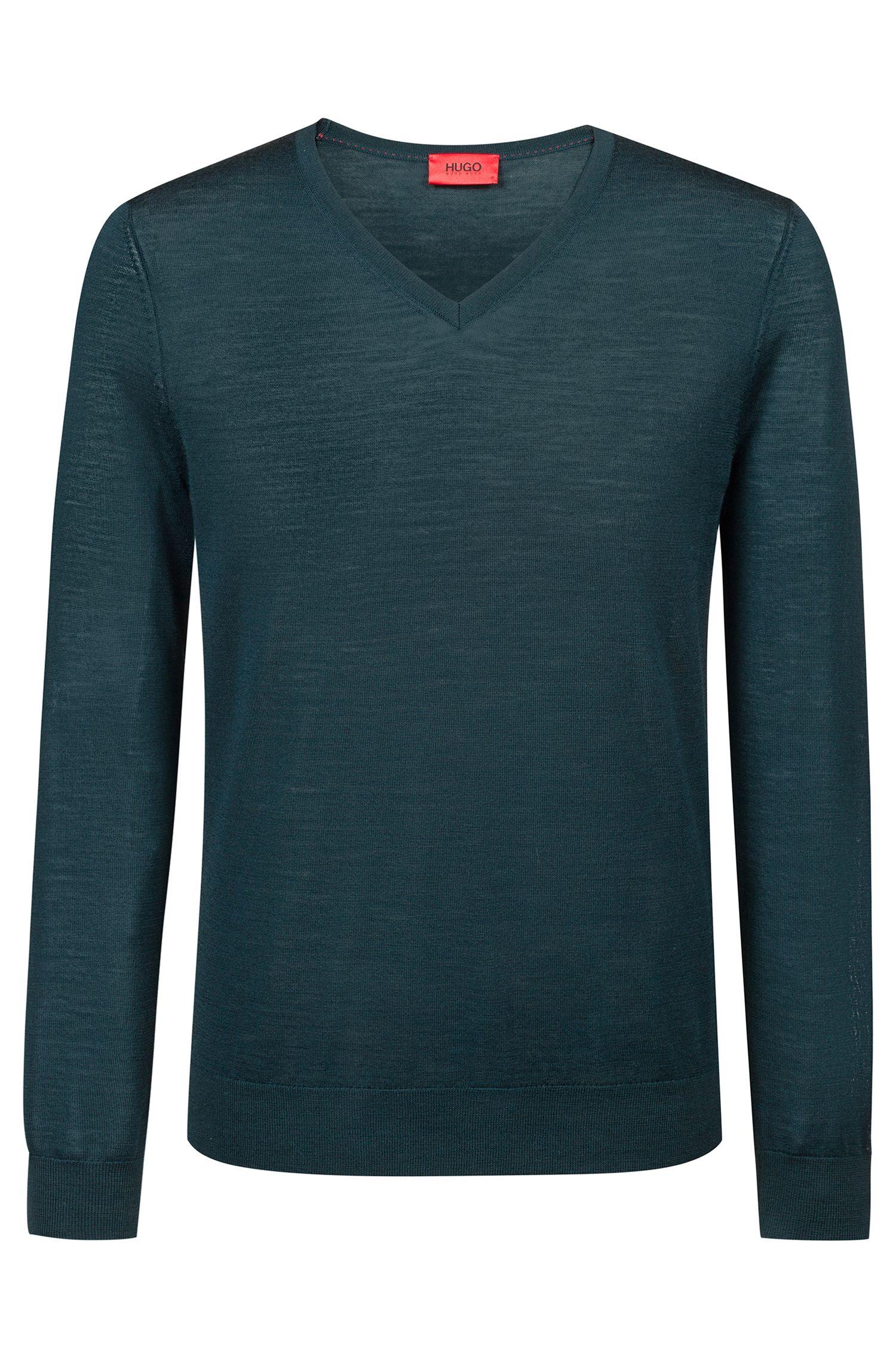 Slim-Fit Pullover aus einem leichten Merinowoll-Mix mit V-Ausschnitt, Dunkelgrün
