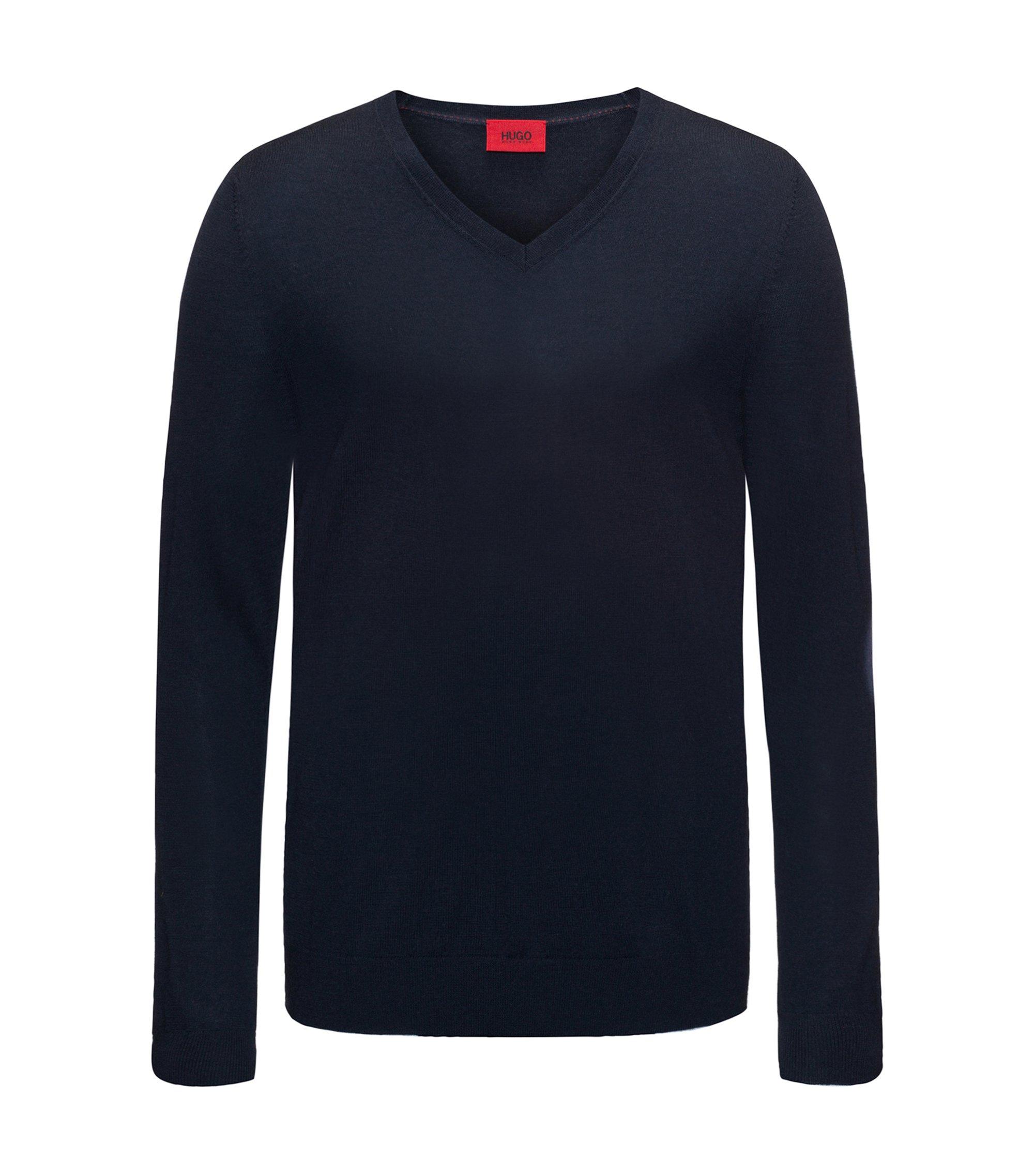 Slim-Fit Pullover aus einem leichten Merinowoll-Mix mit V-Ausschnitt, Dunkelblau