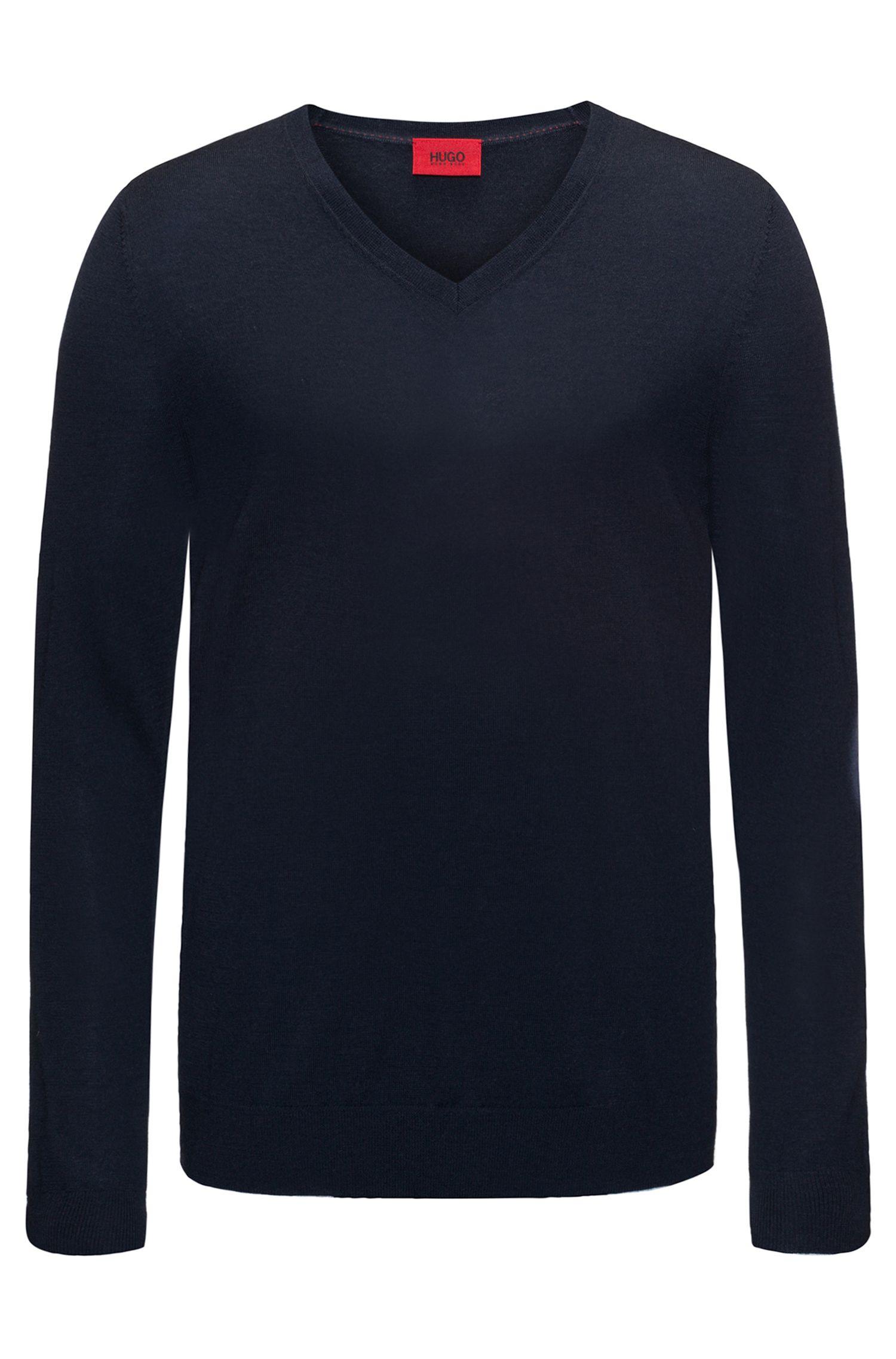 Pull à colV léger en laine mérinos mélangée, Bleu foncé