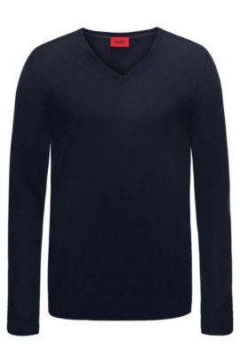 Plain slim-fit sweater in new-wool blend: 'San Carlo', Dark Blue
