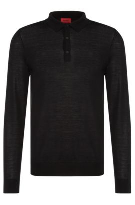 Slim-fit polo-neck sweater in a Merino wool blend, Black