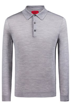 26e2ae83f495 Slim-Fit Pullover aus Schurwoll-Mix mit Polokragen, Grau