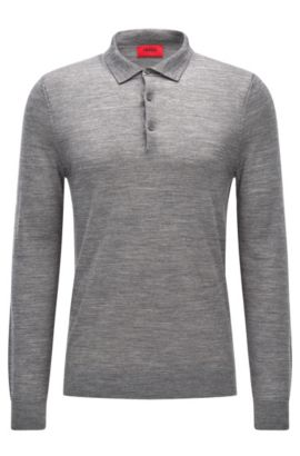 Slim-fit polo-neck sweater in a Merino wool blend, Open Grey