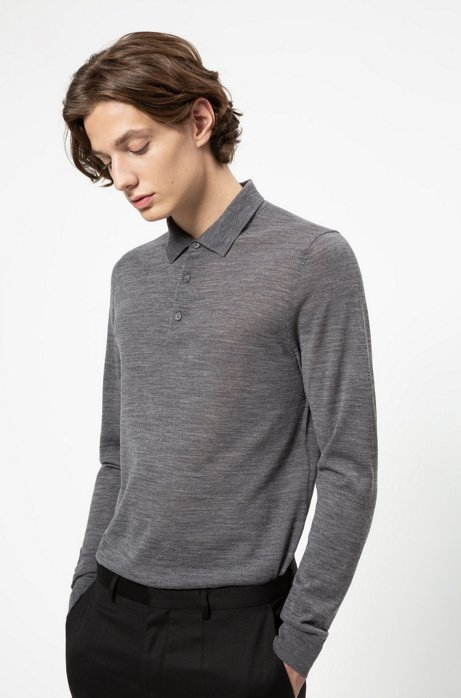 Slim-fit polo-neck sweater in a Merino wool blend, Grey