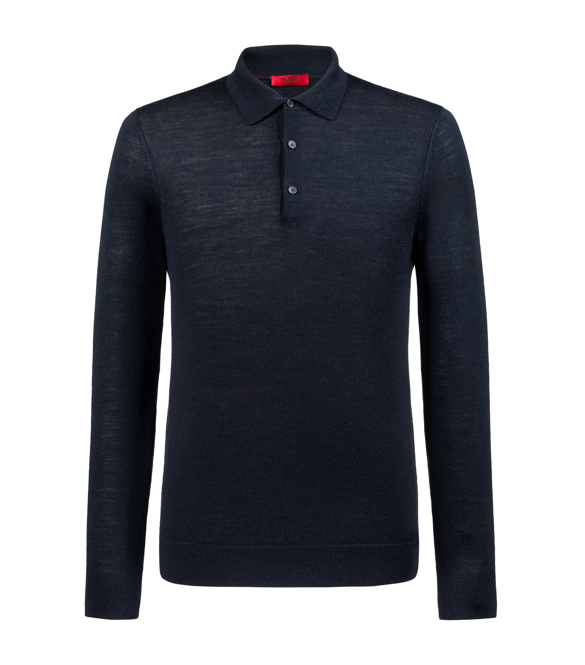 Maglione slim fit con collo a polo in misto lana merino, Blu scuro
