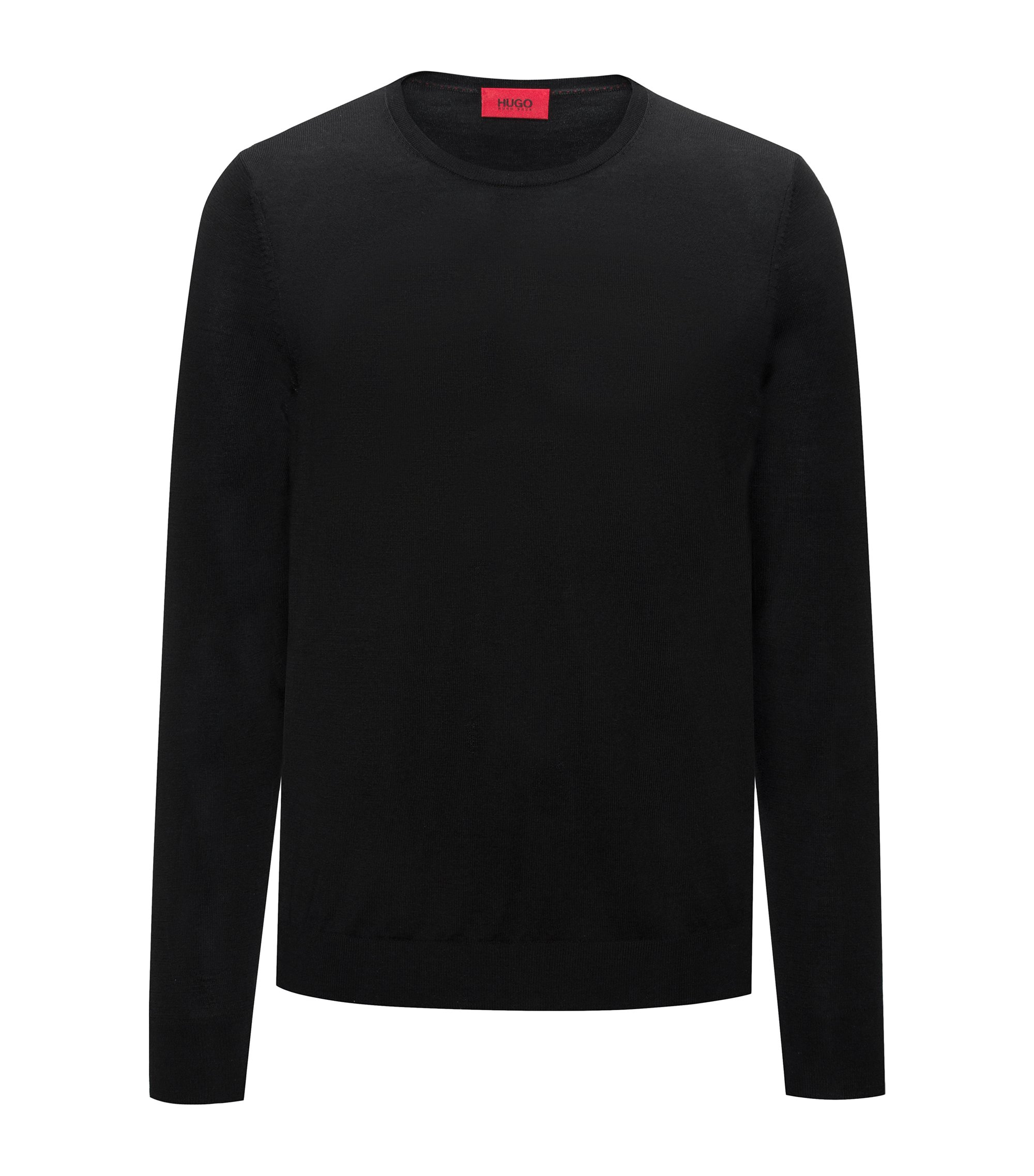 Crew-neck sweater in a lightweight merino wool blend, Black