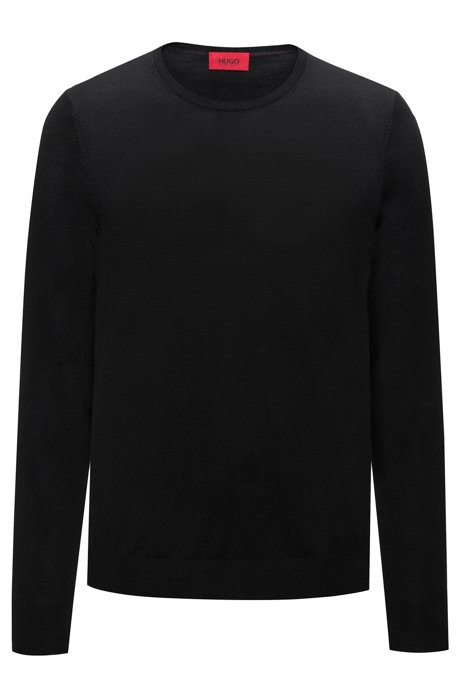 Crew-neck sweater in a lightweight merino wool blend, Black