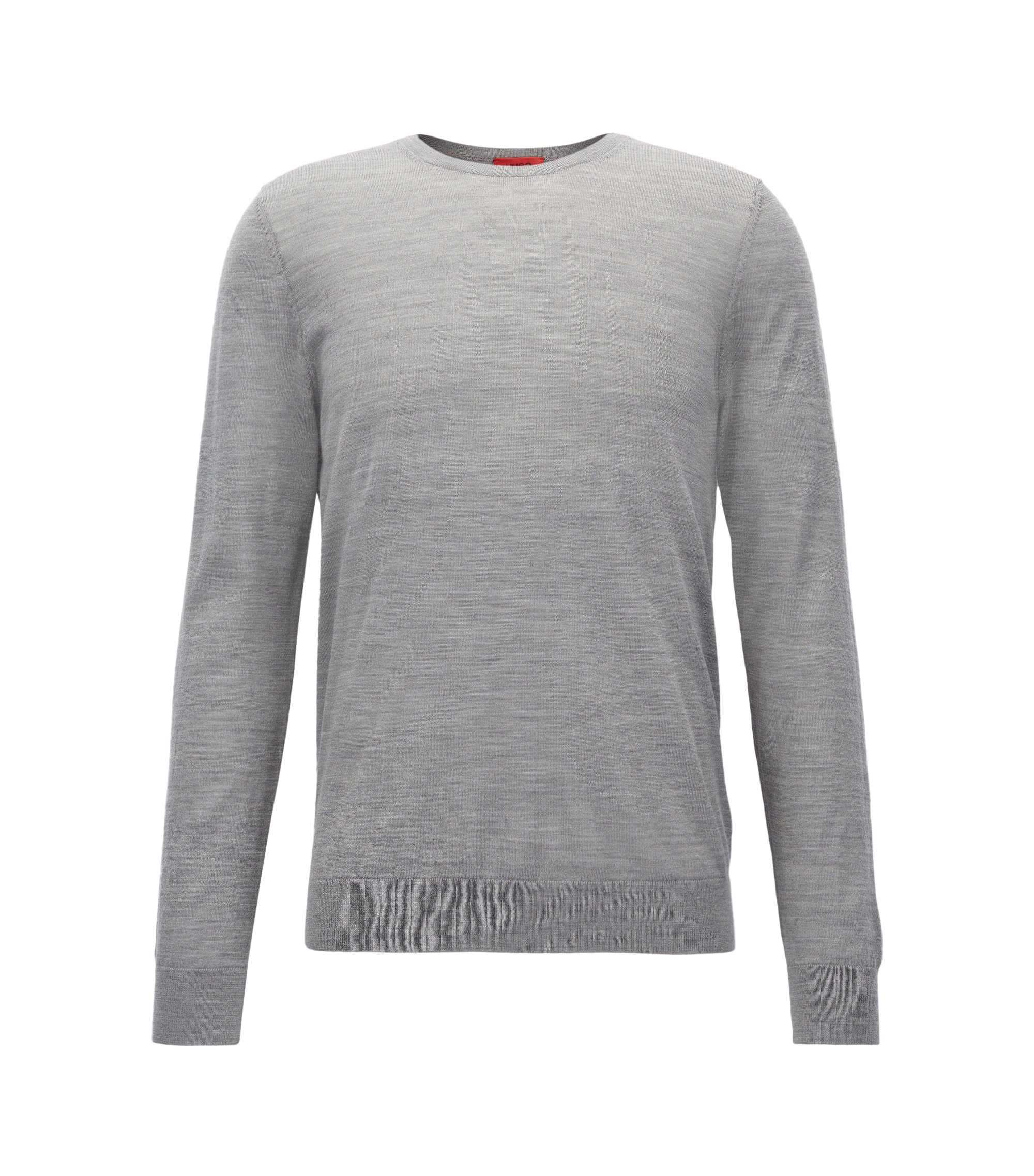 Crew-neck sweater in lightweight merino wool piqué BOSS