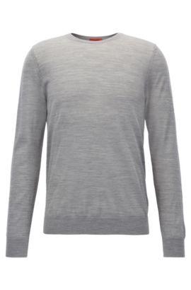 Slim-Fit Pullover aus einem leichten Merinowoll-Mix mit Rundhalsausschnitt, Grau