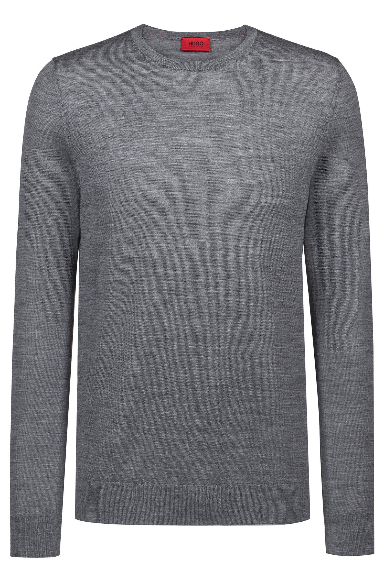 Crew-neck sweater in a lightweight merino wool blend, Grey