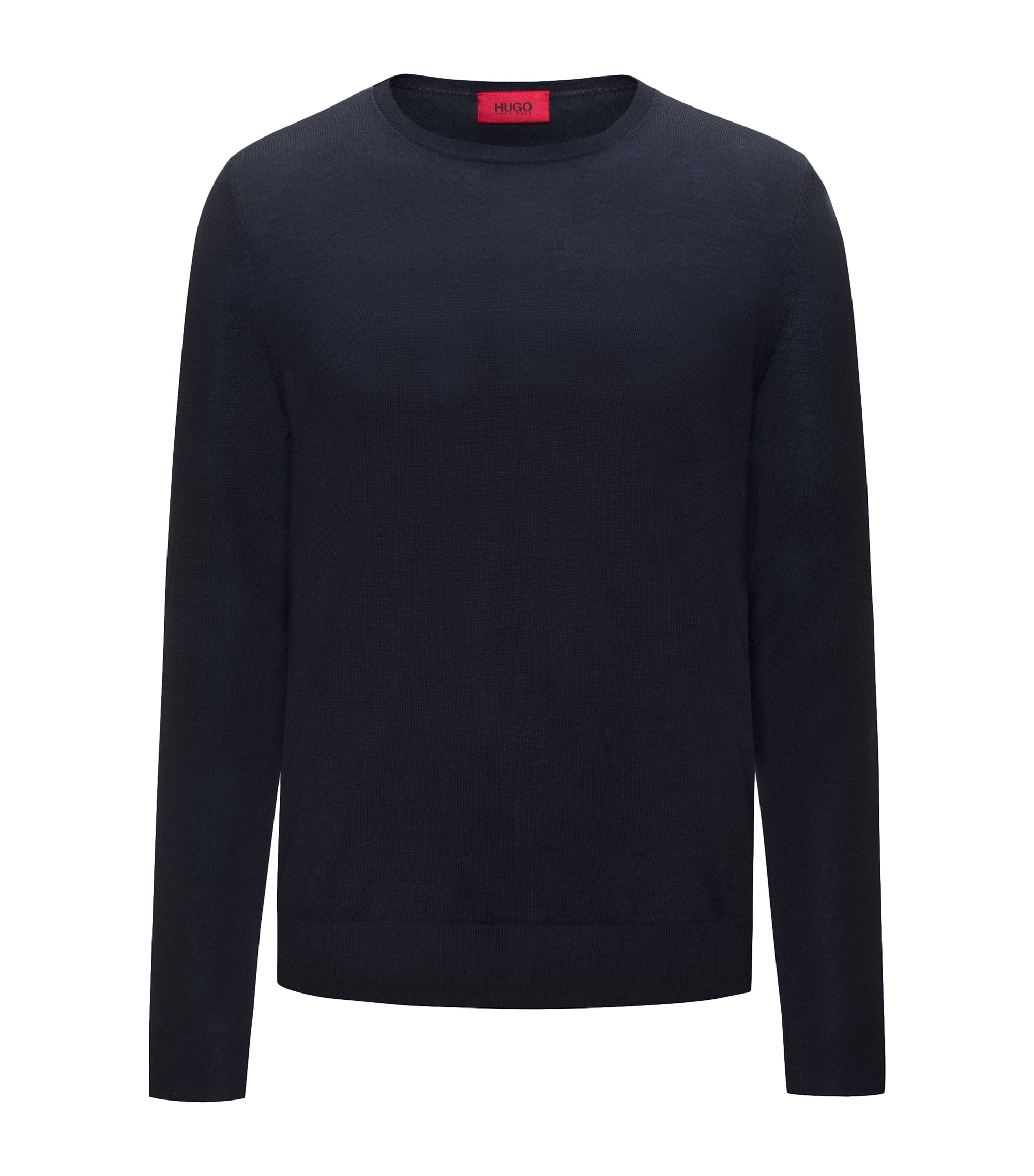 Crew-neck sweater in a lightweight merino wool blend, Dark Blue
