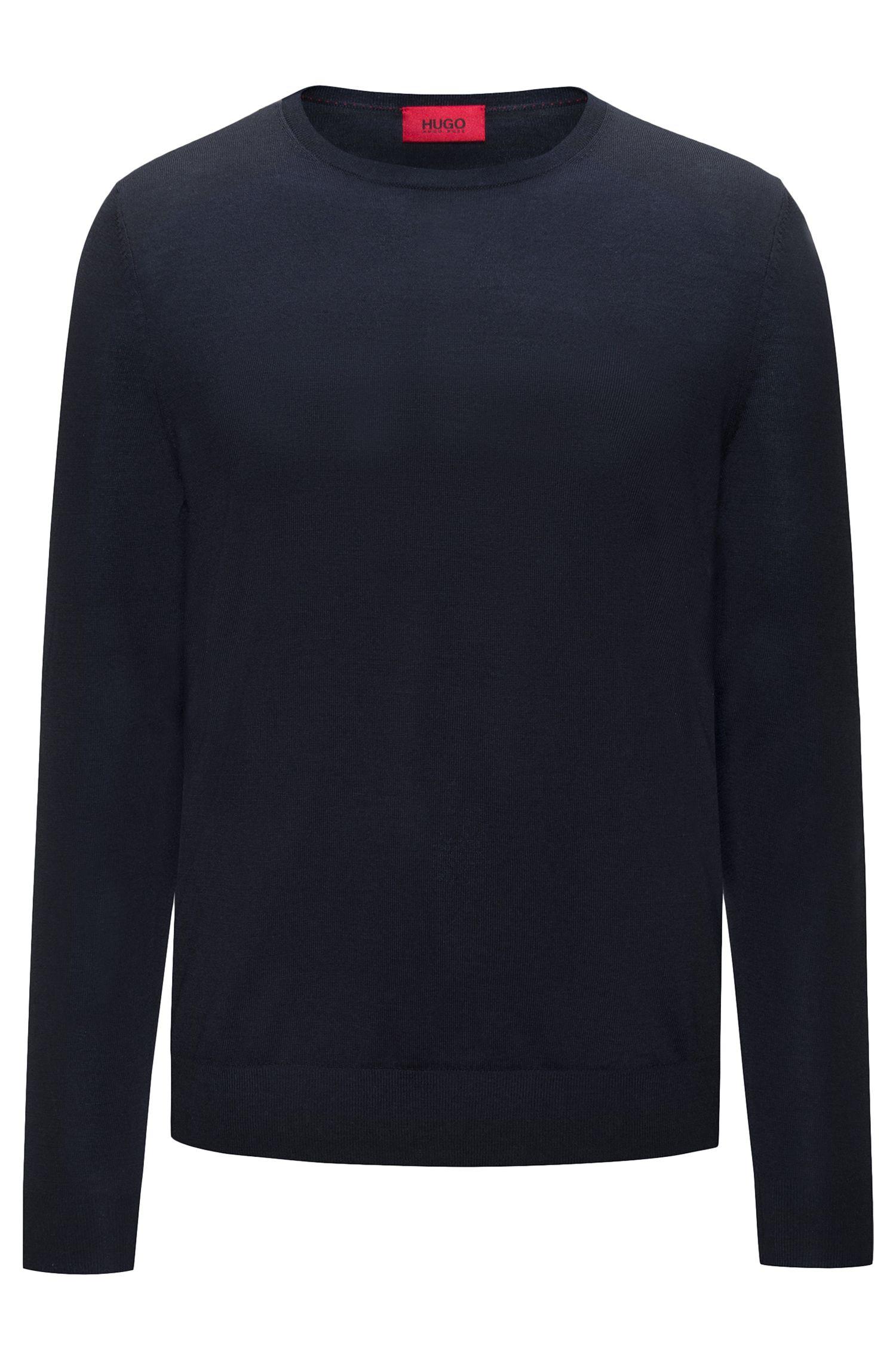 Pull ras-du-cou léger en laine mérinos mélangée, Bleu foncé
