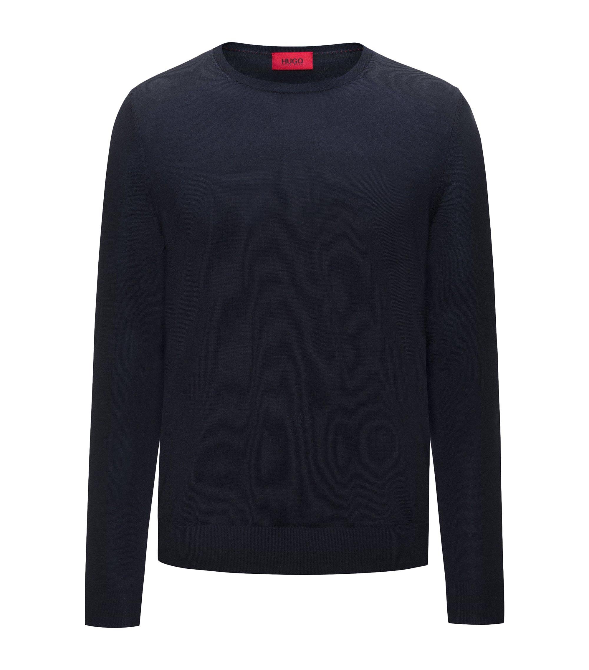 Maglione a girocollo in leggero misto lana merino, Blu scuro