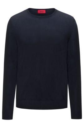Pull Slim Fit en fine laine vierge mélangée: «San Lorenzo», Bleu foncé