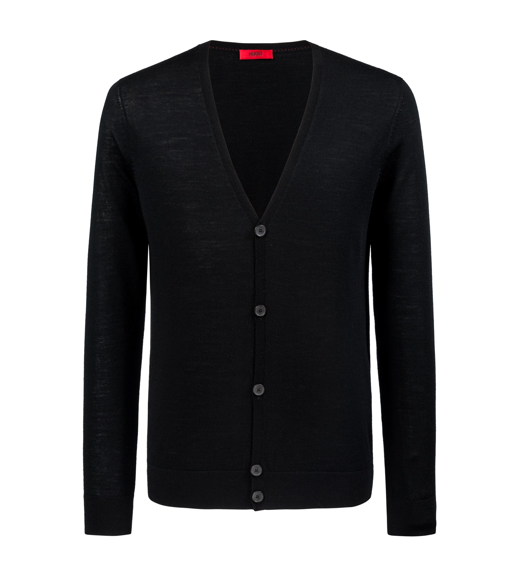 Slim-fit cardigan in a Merino wool blend, Black