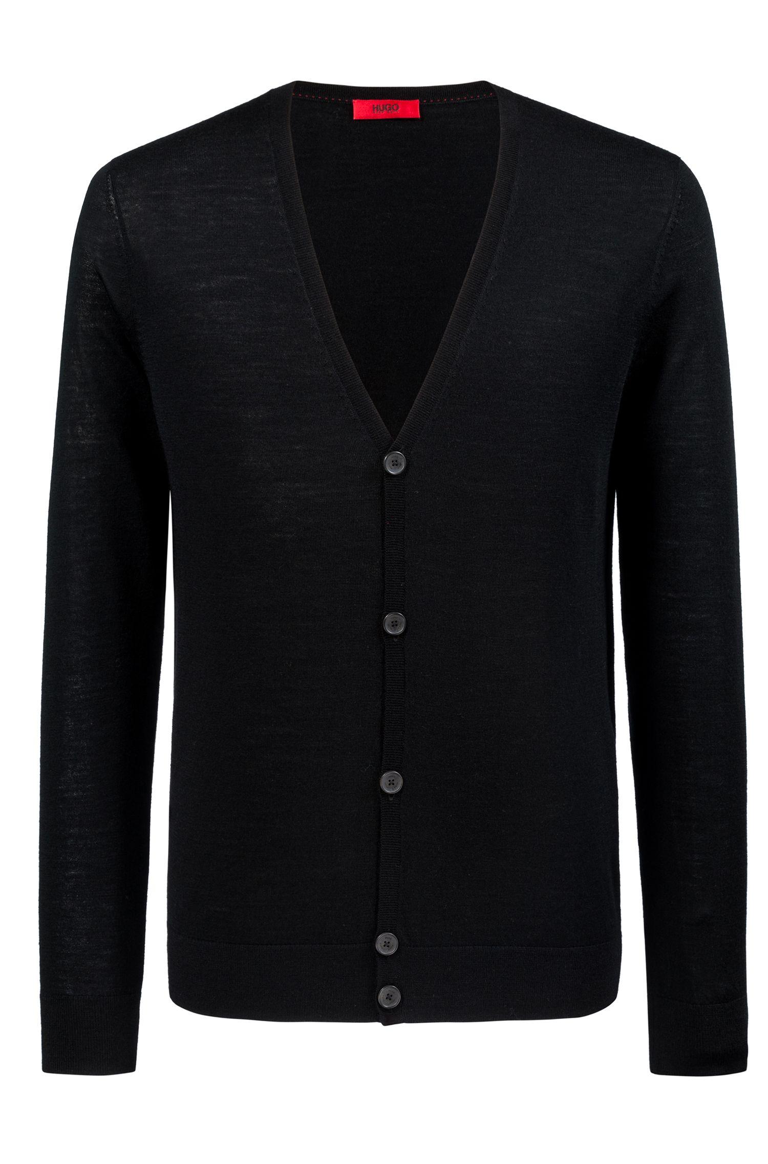 Slim-fit cardigan in a Merino wool blend, Black