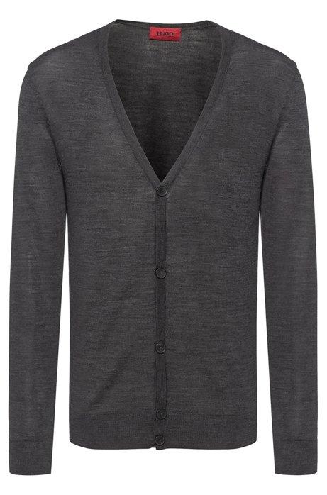 Slim-fit cardigan in a Merino wool blend, Dark Grey