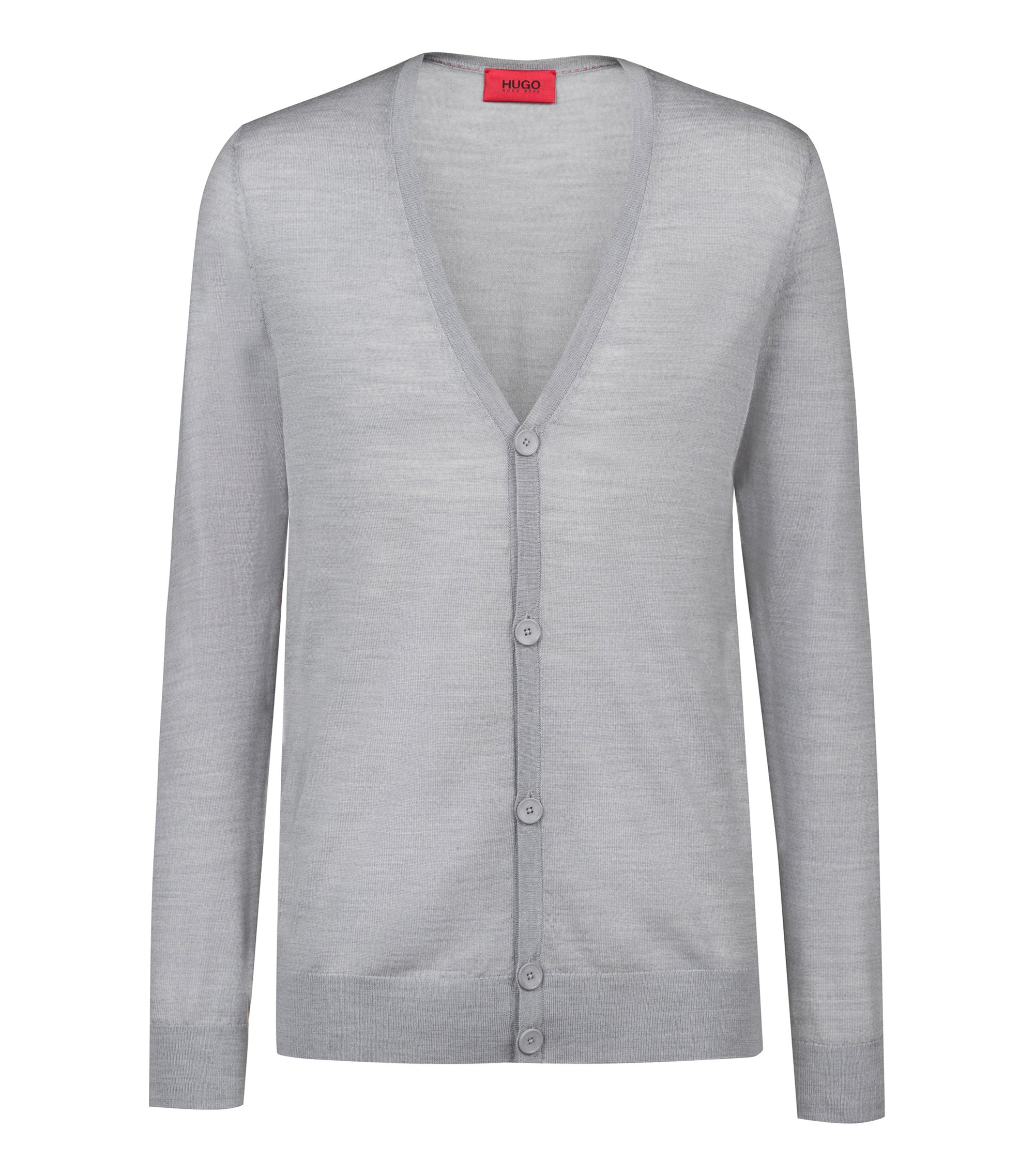 Slim-fit cardigan in a Merino wool blend, Light Grey